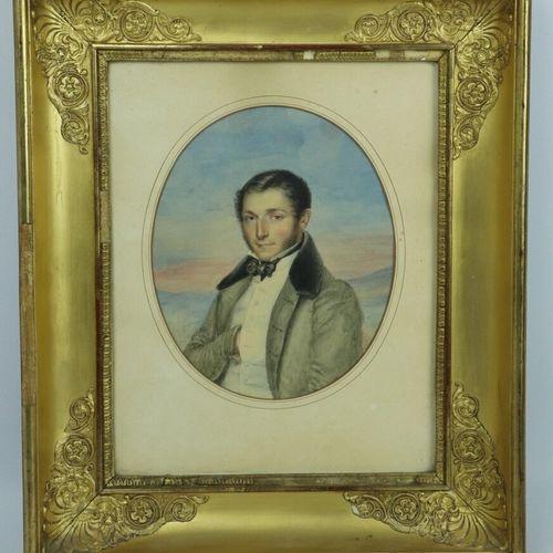 Ecole française vers 1830.  Portrait d'homme au noeud papillon.  Aquarelle sur p…