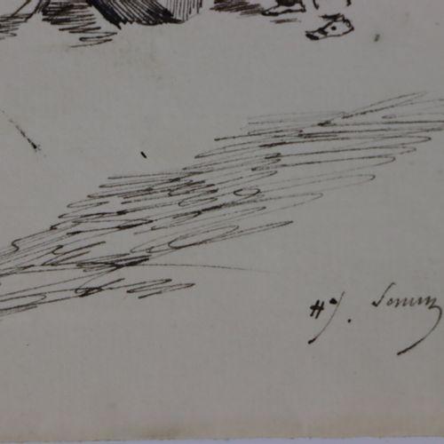 Henry SOMM (1844 1907).  La bonne éducation.  Encre sur papier.  Signée en bas à…