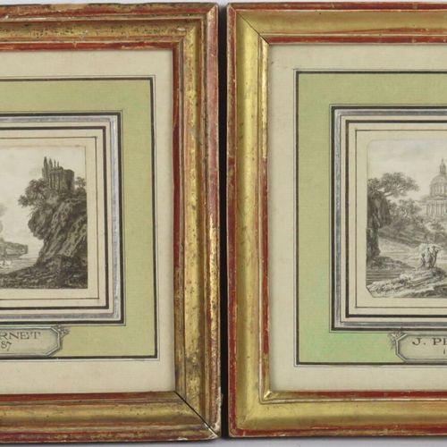 Ecole française du XVIIIème siècle.  Paire de paysages à l'antique animés.  Encr…