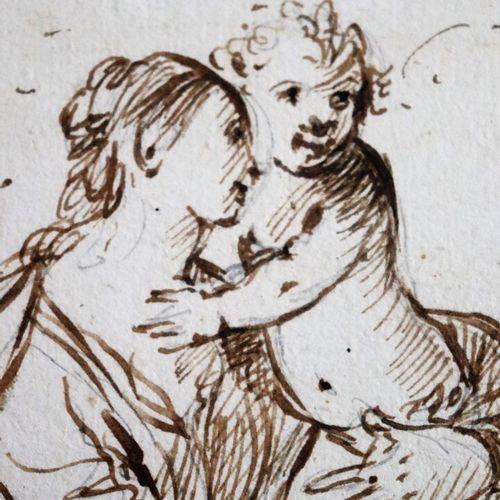Ecole du XVIIIème siècle  Vierge à l'enfant Vénus et Jupiter.  Réunion d'un dess…