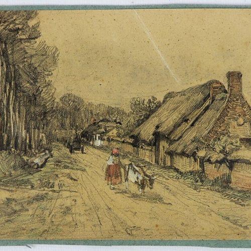 Camille FLERS (1802 1868)  Route d'Aumale.  Crayon noir et aquarelle  Signé, sit…