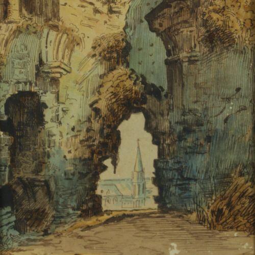 Ecole française du XVIIIème siècle.  Ruines ouvrant sur un édifice religieux.  D…