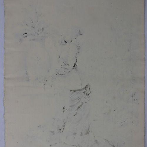 Henry SOMM (1844 1907).  Jeune femme aux fleurs.  Encre sur papier.  Signée en b…