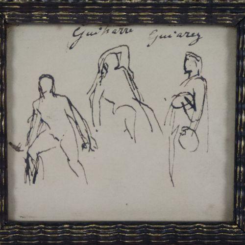 Jules Elie DELAUNAY (1828 1891).  La descente de croix.  Dessin à l'encre, signé…