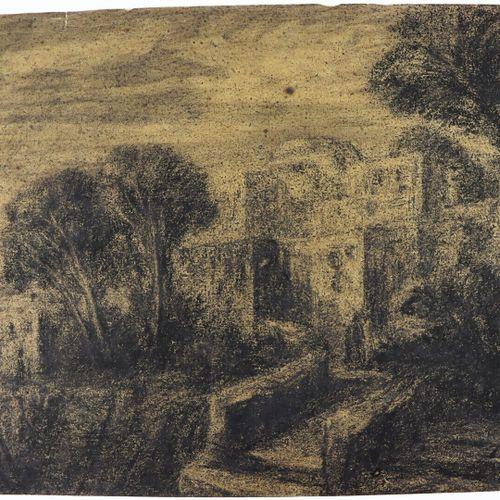 Alexandre Gabriel DECAMPS (1803 1860).  La casbah.  Fusain.  Monogrammé en bas à…