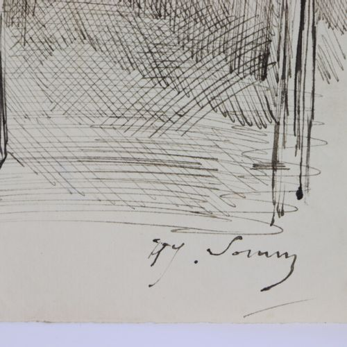 Henry SOMM (1844 1907).  Un dernier verre.  Encre sur papier.  Signée en bas à d…