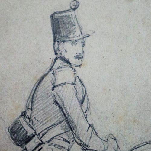 Louis Eugène CHARPENTIER (1811 1890).  Etude de soldats.  Réunion de deux dessin…