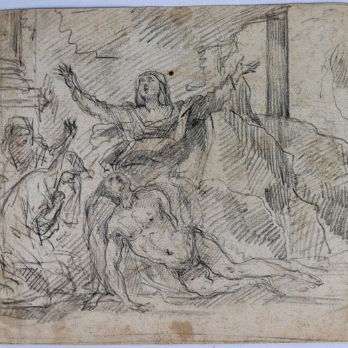 Ecole française du XVIIème siècle.  Déploration sur le Christ mort.  Saint Roch …