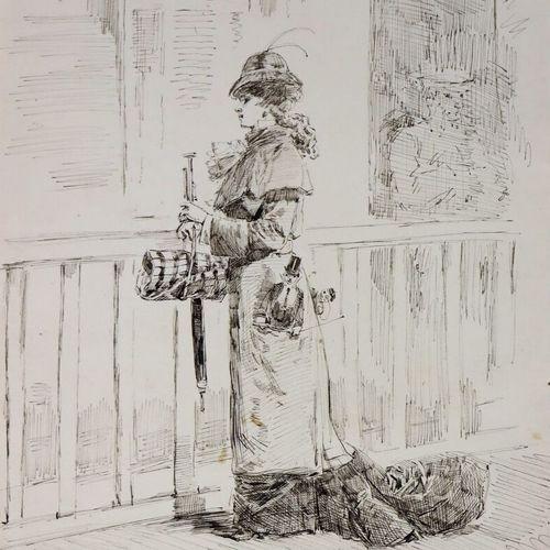 Henry SOMM (1844 1907).  Sur le quai de la gare.  Encre sur papier.  Signée en b…
