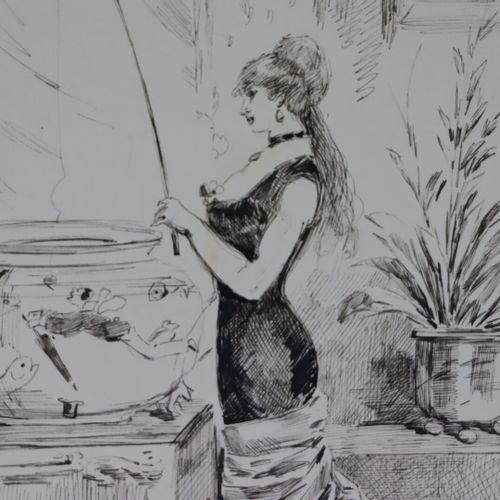 Henry SOMM (1844 1907).  Partie de pêche.  Encre sur papier.  Signée en bas à dr…