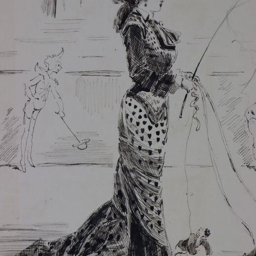 Henry SOMM (1844 1907).  Au cirque.  Encre sur papier.  Signée en bas à droite. …