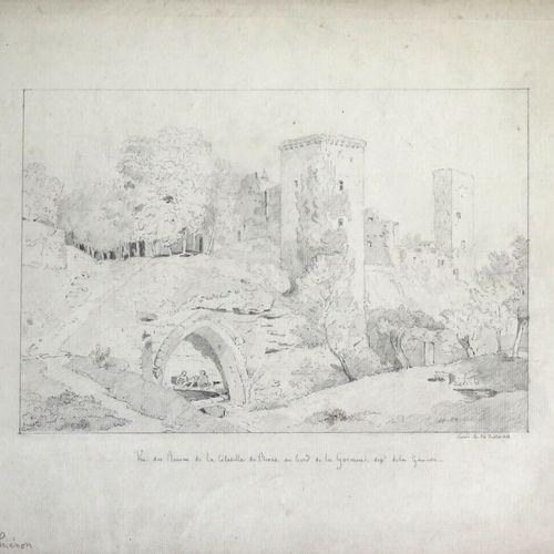 Claude I THIENON (1772 1846).  Vue des ruines de la citadelle de Rions, au bord …