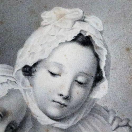 Ecole française du XIXème siècle.  La consolation.  Crayon su papier.  H_19,3 cm…