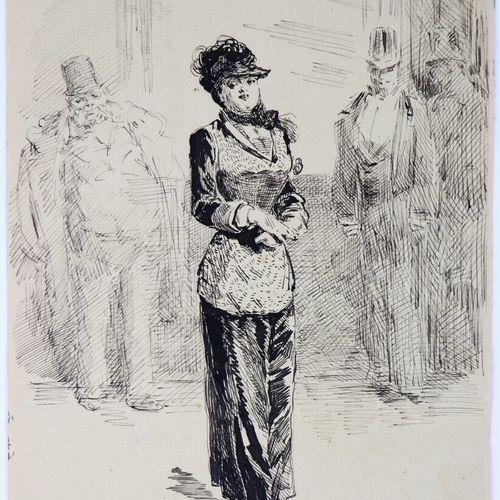 Henry SOMM (1844 1907).  La femme mondaine.  Encre sur papier.  Signée en bas à …