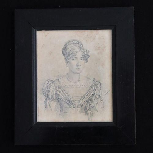 Ecole française d'époque Consulat.  Portrait de femme.  Dessin au crayon, signé …