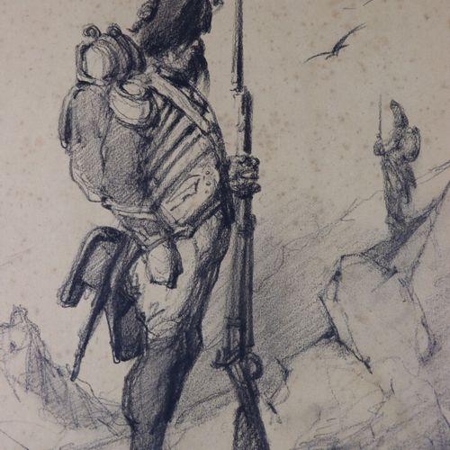 Edouard CHEVRET (1835 1874).  Grenadier.  Fusain.  Signé et daté 71 en bas à gau…