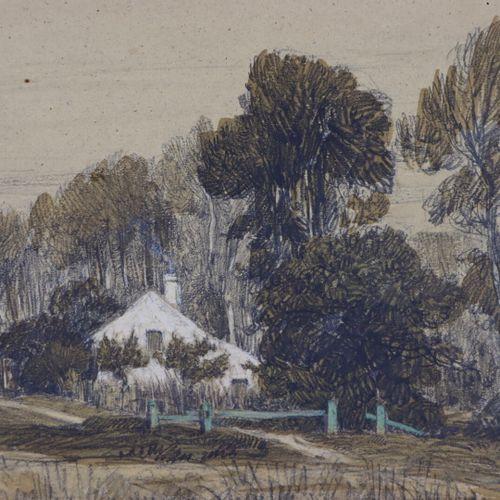 Camille FLERS (1802 1868)  Vue de Montfermeil.  Crayon noir et aquarelle  Signé,…