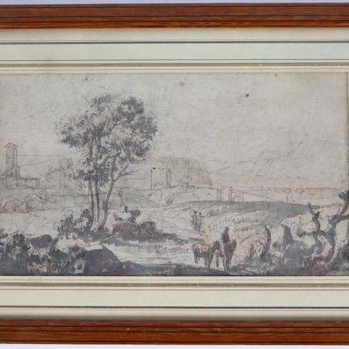 Ecole française du XVIIème siècle.  Paysage d'Italie.  Encre, lavis et traits de…
