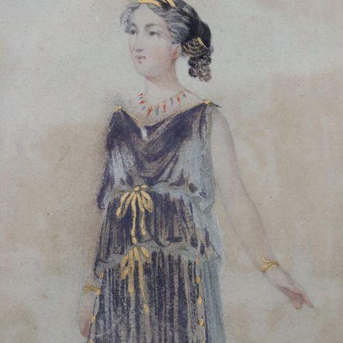 Ecole française du début du XIXème siècle.  Femme à l'antique.  Aquarelle et reh…