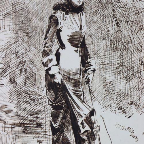 Henry SOMM (1844 1907).  Macelotte Friture, Au Poisson Vert.  Encre sur papier. …