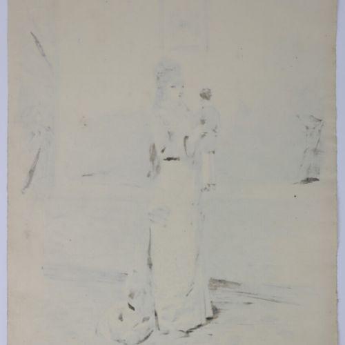 Henry SOMM (1844 1907).  Elégante à la marionnette.  Encre sur papier.  Signée e…