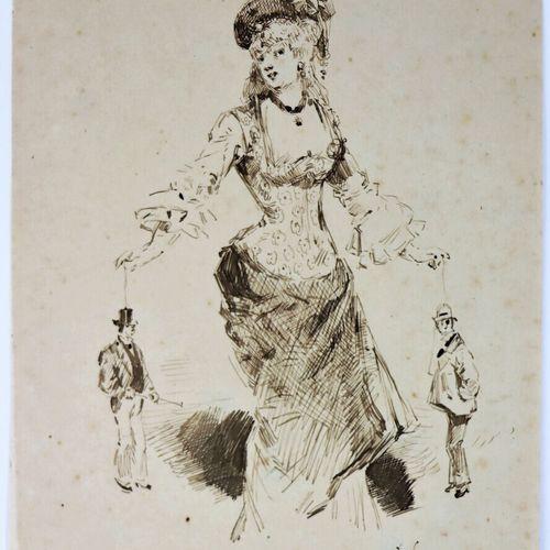 Henry SOMM (1844 1907).  La marionnetiste.  Encre sur papier.  Signée en bas à d…