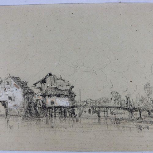 Camille FLERS (1802 1868)  Moulin et pont.  Crayon noir et aquarelle  Signé en b…