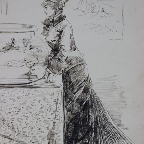 Henry SOMM (1844 1907).  Elégante aux poissons.  Encre sur papier.  Signée en ba…