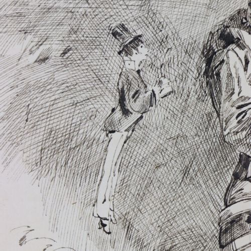 Henry SOMM (1844 1907).  Au suivant.  Encre sur papier.  Signée en bas à droite.…