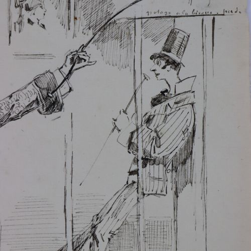 Henry SOMM (1844 1907).  La Ménagerie.  Encre sur papier.  Signée en bas à droit…
