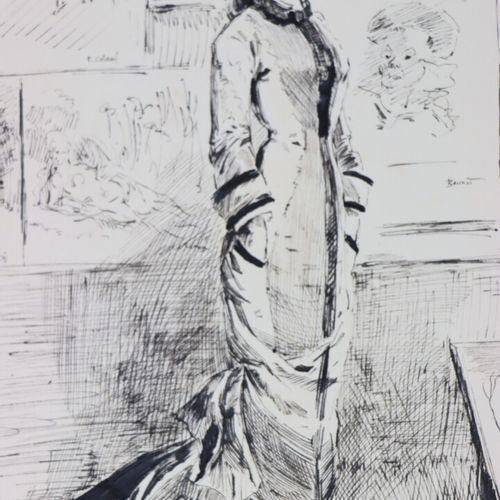 Henry SOMM (1844 1907).  Elégante au Salon.  Encre sur papier.  Signée en bas à …