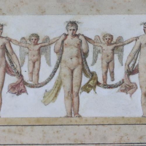 Ecole française du XIXème siècle.  Projet de frise figurant des femmes nues et d…