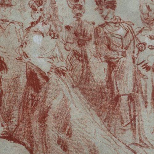 Constantin GUYS (1802 1892), attribué à.  Assemblée de personnages.  Sanguine su…