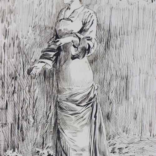 Henry SOMM (1844 1907).  Rêverie.  Encre sur papier.  Signée en bas à droite.  H…