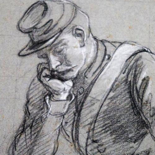 Louis Eugène CHARPENTIER (1811 1890).  Etudes de soldats et cheval.  Réunion de …