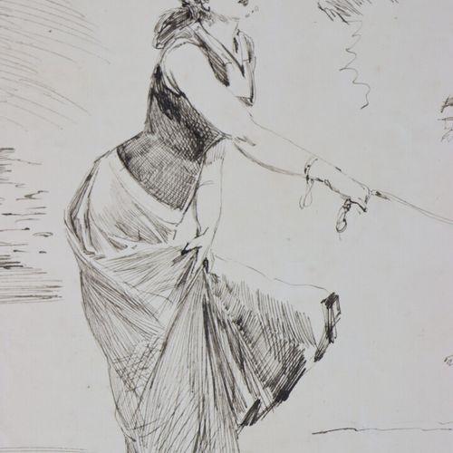 Henry SOMM (1844 1907).  Les acrobaties des marionnettes.  Encre sur papier.  Si…