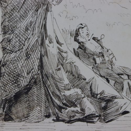 Henry SOMM (1844 1907).  La domestication.  Encre sur papier.  Signée en bas à d…