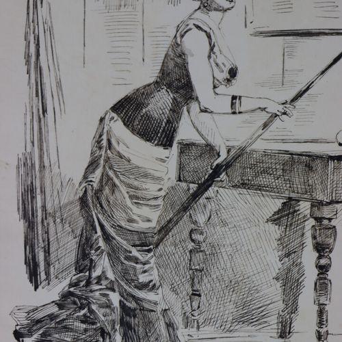 Henry SOMM (1844 1907).  La joueuse de billard.  Encre sur papier.  Signée en ba…