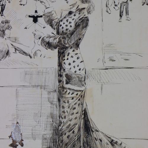 """Henry SOMM (1844 1907).  """"Boutique 13"""" Elegante aux marionnettes.  Encre sur pap…"""