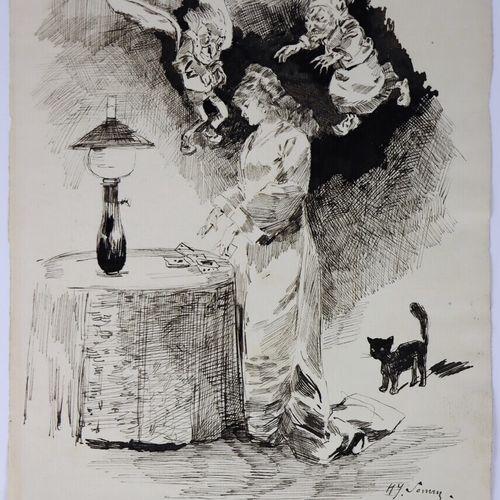 Henry SOMM (1844 1907).  Bonne et mauvaise conscience.  Encre sur papier et reha…