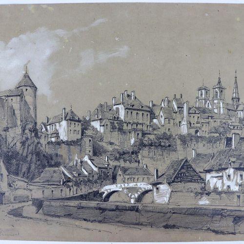 Ecole française du XIXème siècle.  Vue de Semur en Auxois.  Crayon et rehauts de…