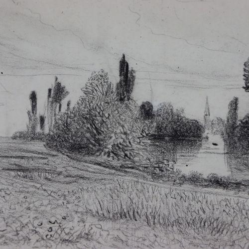 Marie Abraham ROSALBIN DE BUNCEY (1833 1891).  Vue de Bezons, Toussaint 1876.  C…
