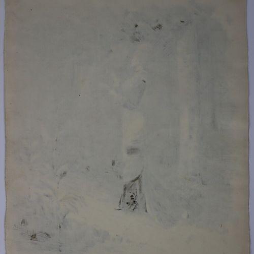 Henry SOMM (1844 1907).  Elégante au jardin.  Encre sur papier.  Signée en bas à…