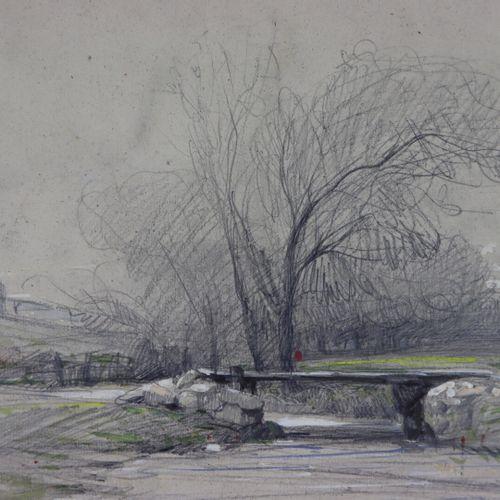 Camille FLERS (1802 1868).  Vue de Brie Comte Robert.  Crayon noir et aquarelle.…