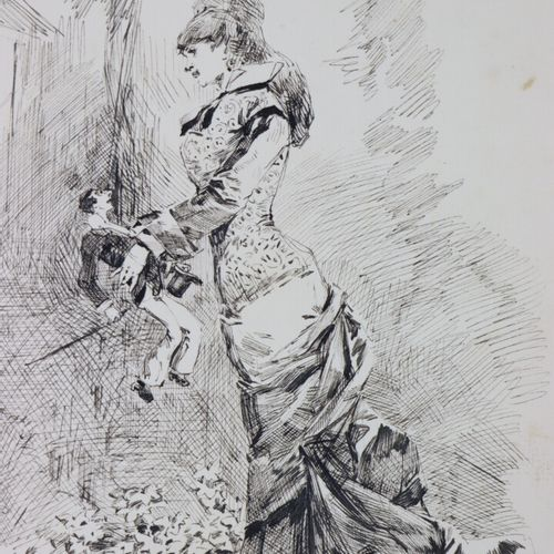 Henry SOMM (1844 1907).  Elégante aux marionnettes.  Encre sur papier.  Signée e…