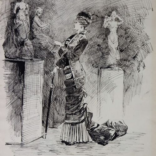 Henry SoMM (1844 1907).  Elégante au musée.  Encre sur papier.  Signée en bas à …