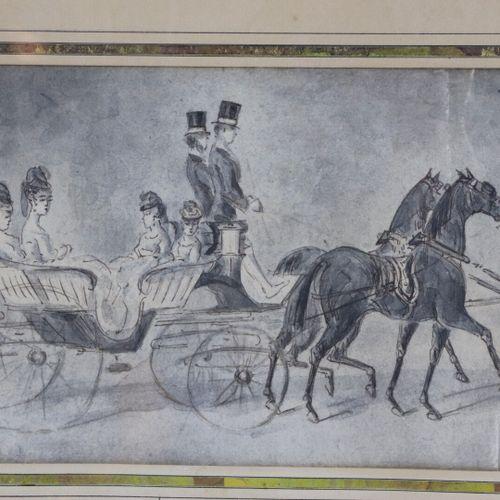 Constantin GUYS (1802 1892), attribué à.  La promenade en attelage.  Lavis d'enc…