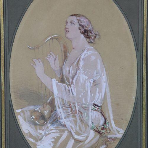 Paul GAVARNI (1804 1866)  Femme musicienne jouant de la lyre.  Dessin au crayon …