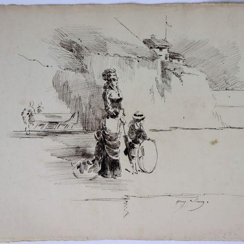 Henry SOMM (1844 1907).  Elégante et sa fille en promenade.  Encre sur papier.  …