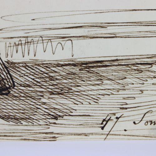 Henry SOMM (1844 1907).  L'élégante.  Encre sur papier et rehaut d'aquarelle.  S…